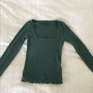 Ribbed green square neck top with lettuce hem